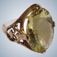 Yellow Beryl Stone Ring 10 Karat Yellow Gold