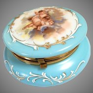 Cherub Powder Box Blue Milk Glass Hand-Painted