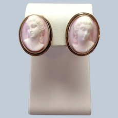 Pink Shell Cameo Lady Earrings Victorian 14K