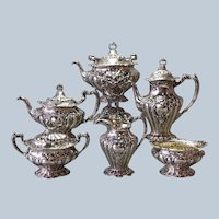 Gorham Chantilly Grand Tea Set 6 Piece Kettle on Stand Circa 1901