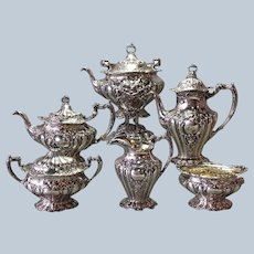 Gorham Chantilly Grand Tea Set 6 Piece Kettle on Stand Circa 1901