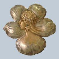 Art Nouveau Woman Flower Pendant Gilt 19th c