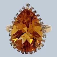 Citrine 14k Gold and Diamond Ring 10 Carat Citrine 14K