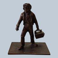 Bronze Shoeshine Boy Match Holder Victorian
