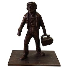 Bronze Shoeshine Boy Match Holder Victorian