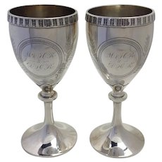 Pair Toasting Goblets Sterling Whiting 1870's