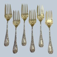Six Sterling Chrysanthemum Fish Forks by Durgin C Mono Group 6