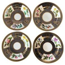 "One Dozen English Floral Cobalt 8 1/2"" Plates #698"