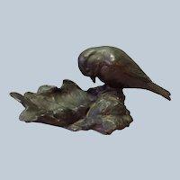 "Continental Bird on a Leaf Dish Bronze Antique 8"""