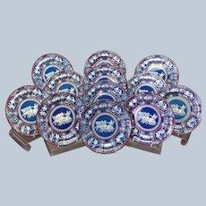 "One Dozen Spode Greek Red Clobbered 10"" Plates Circa 1805"