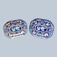 "Pair Spode Blue Greek Clobbered 12"" Platters Early 19th c."