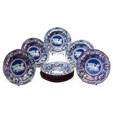One Dozen Spode Greek Clobbered Rim Soup Bowls Circa 1805