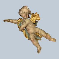 Carved Wood Cherub Antique Mid 19th c