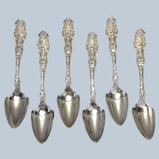 "Group Wallace Irian 6 Orange Spoons 5 7/8"" Aphrodite, Cherubs!"