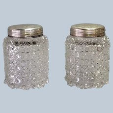 Pair of Sterling and Cut Glass Jars Briggs Piccadilly London