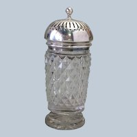 Spice Dredgers England Sterling Top Cut Glass 19th c.
