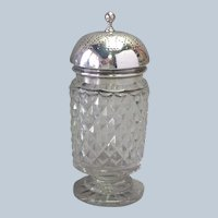 """English Sterling Top Cut Glass Bottom Spice Dredger 5 3/8"""""""