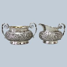 Repousse Cream and Sugar Simmons Sterling Antique