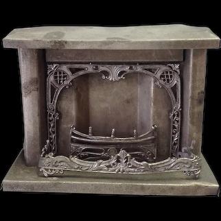 Antique German Miniature Tin Dollhouse Fireplace 1900