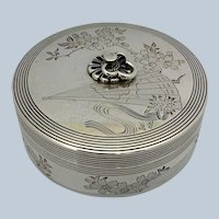 Japanese 950 Silver Box Fan and Flowers with Chrysanthemum Mon Signed 1930's