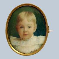 Child's Portrait by O. Eckardt Jr. Signed 10k Gold Frame Signed