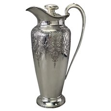 """Cocktail Shaker Tall Paisley Pattern Silverplate Wilcox 13"""""""