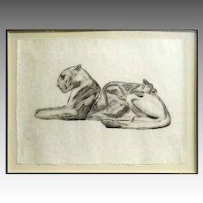 Paul Jouve Etching La Lionne Et Son Lionceau 1927
