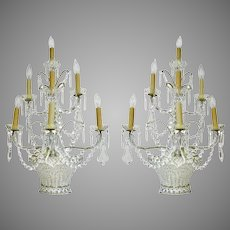 Pair Large Beaded Crystal Wall Sconces