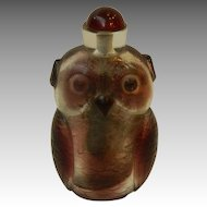 "Large Peking Glass Owl 5.5"" Snuff Bottle"