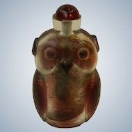 "Large Peking Glass Owl 5.5"" Snuff Bottle"