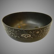 Lacquered Pewter Japanese Bowl Floral Inlay