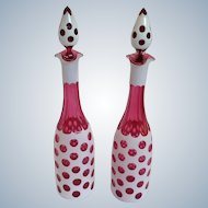 Pair Czech White Overlay to Cranberry Glass Decanters