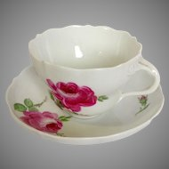 Meissen Pink Rose Breakfast Cup and Saucer
