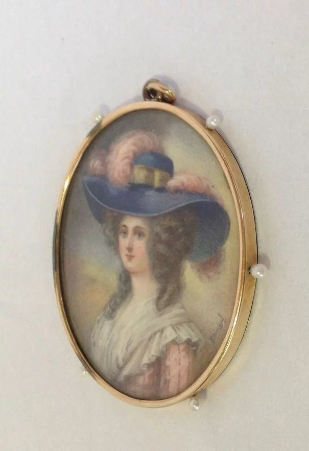 Miniature Portrait Lady 10k Frame Pearls Antiques Of