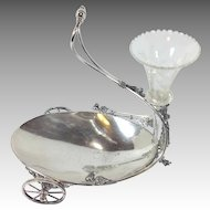 Victorian Flower and Candy Wagon Silverplate Dish