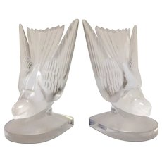 Pair of Lalique Hirondelles Swallows Bookends