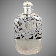 Sterling Overlay Wheat Design Flask