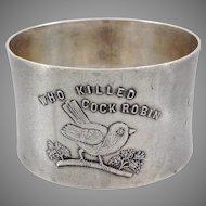 Sterling Child's Nursery Rhyme Cock Robin Napkin Ring