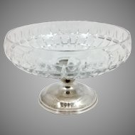 Hawkes Cut Glass Compote With Sterling Base