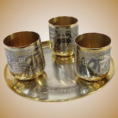 Russian Niello 875 Silver Vodka Cups and Tray
