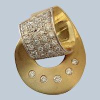 Diamond and 18 Karat Yellow Gold Pendant 1.25 Carat