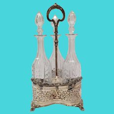 Three Bottle English Silver Plate Tantalus