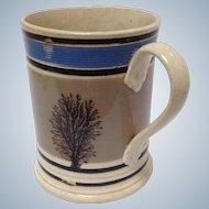 Mochaware Seaweed and Blue Mug English C. 1800's
