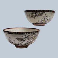 Pair of Signed Satsuma Rice Bowls with Moriage Decoration