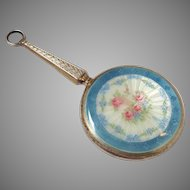 Sterling Enameled Mirror with Handle