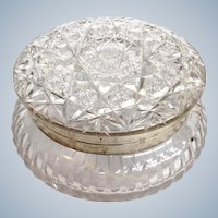 Large Cut Glass Box With Sterling Rim