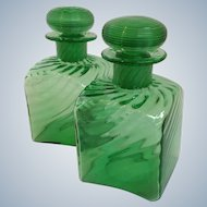 Pair of Steuben Green Glass Cologne Bottles