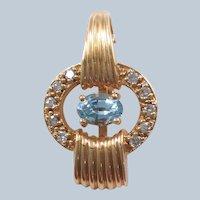 Aquamarine and Diamond Enhancer 14k