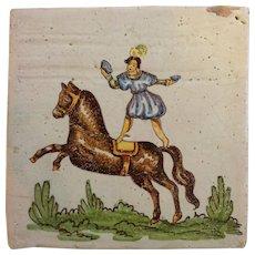Antique Acrobat Italian Tile
