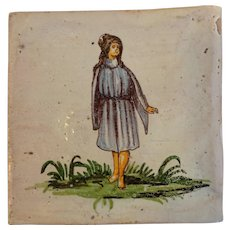 Antique Girl Italian Decorative Tile